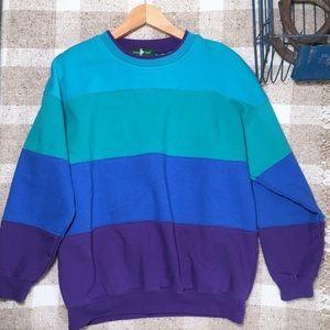 90s color block stripe crewneck sweatshirt
